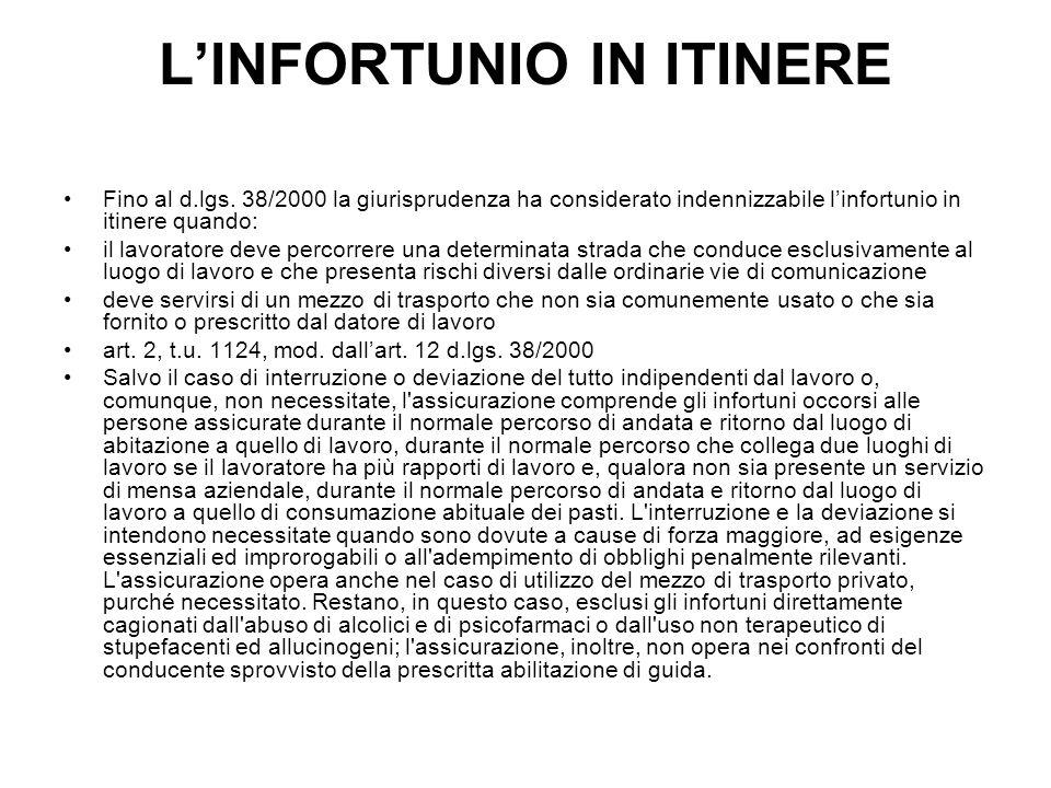 L'INFORTUNIO IN ITINERE