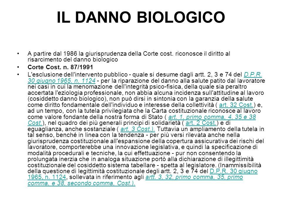 IL DANNO BIOLOGICO A partire dal 1986 la giurisprudenza della Corte cost. riconosce il diritto al risarcimento del danno biologico.