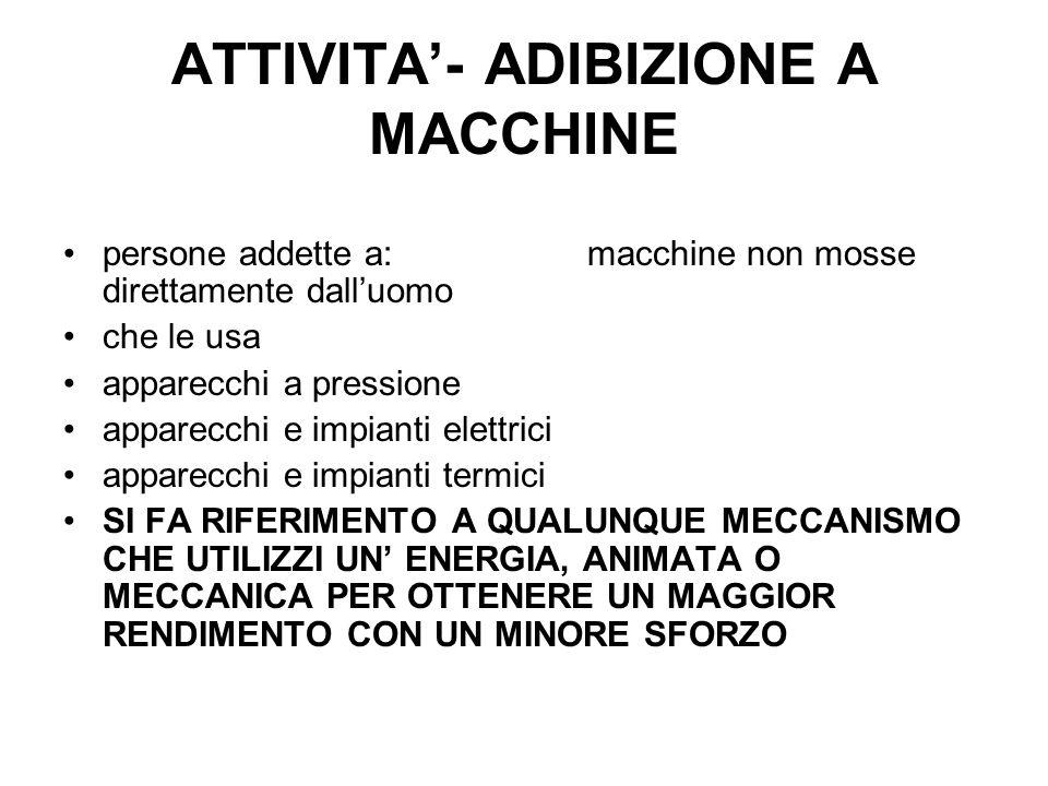 ATTIVITA'- ADIBIZIONE A MACCHINE