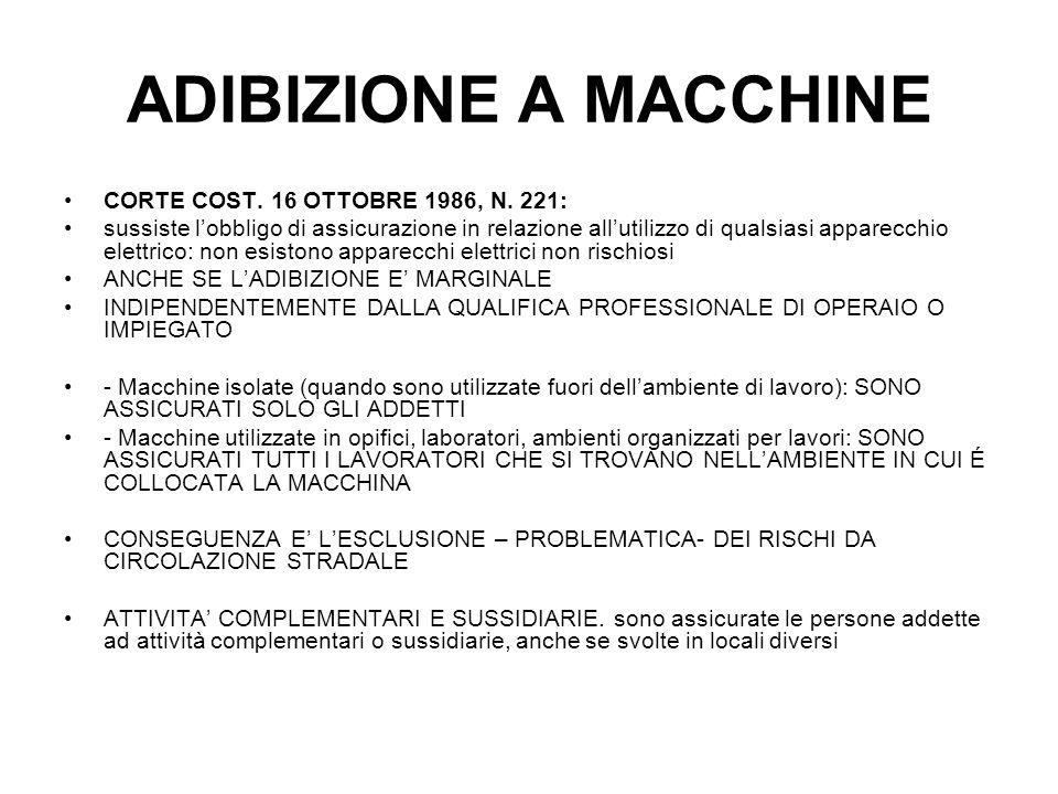 ADIBIZIONE A MACCHINE CORTE COST. 16 OTTOBRE 1986, N. 221:
