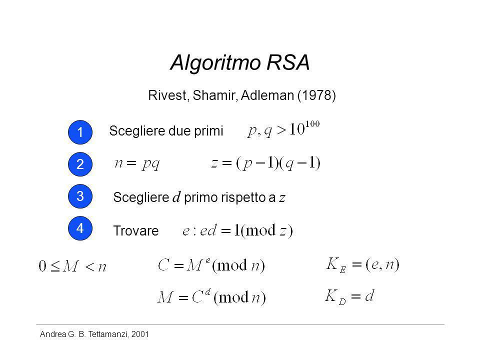 Algoritmo RSA Rivest, Shamir, Adleman (1978) 1 Scegliere due primi 2 3