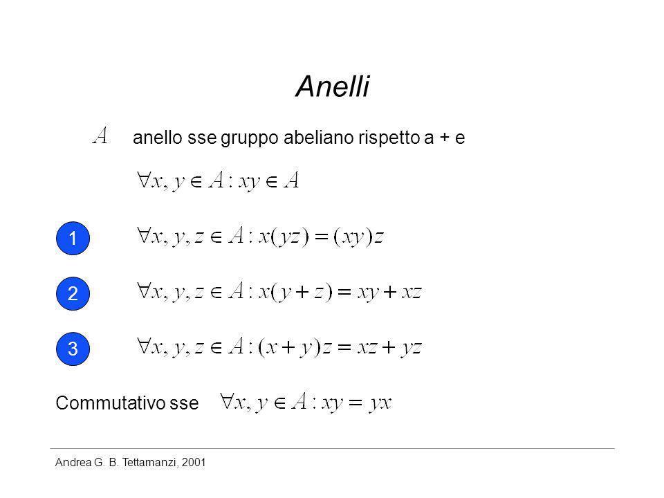 Anelli anello sse gruppo abeliano rispetto a + e 1 2 3 Commutativo sse