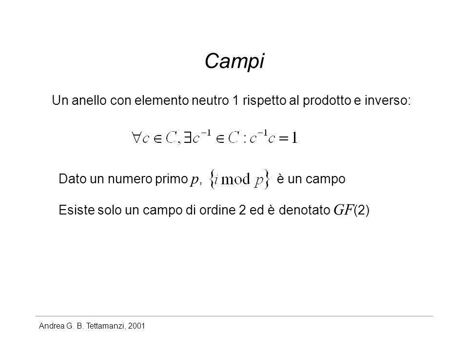 Campi Un anello con elemento neutro 1 rispetto al prodotto e inverso: