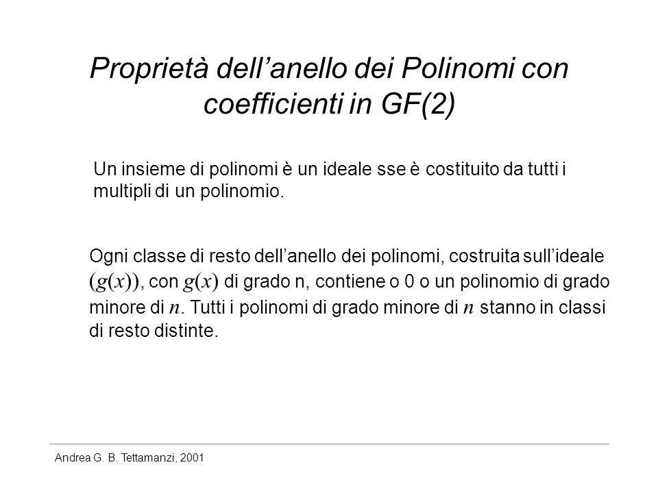 Proprietà dell'anello dei Polinomi con coefficienti in GF(2)