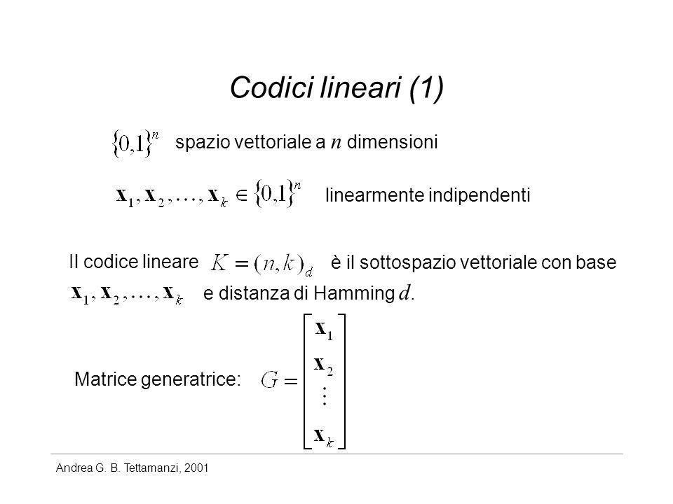Codici lineari (1) spazio vettoriale a n dimensioni