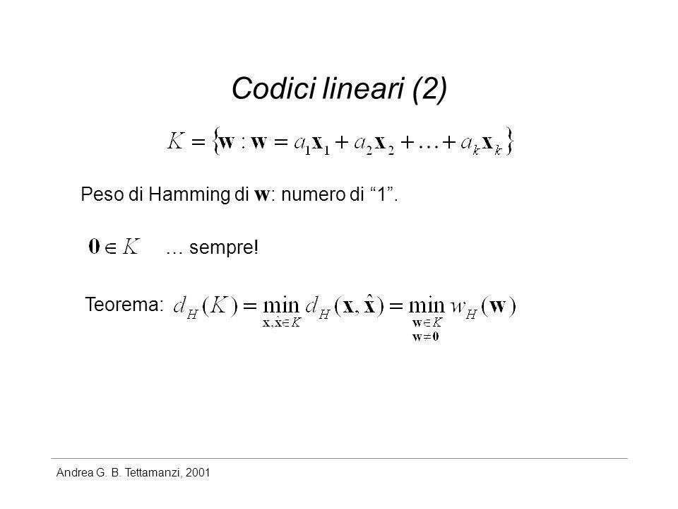 Codici lineari (2) Peso di Hamming di w: numero di 1 . … sempre!