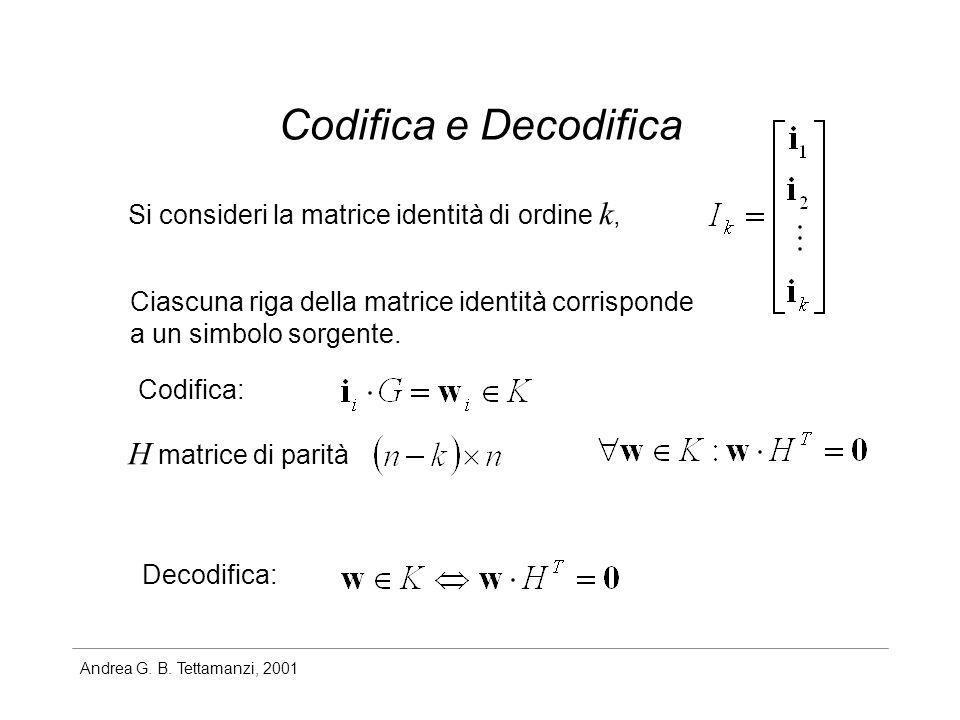 Codifica e Decodifica H matrice di parità