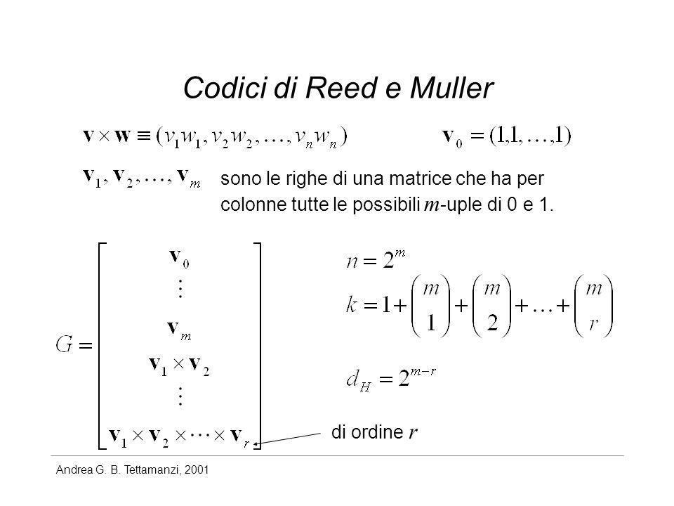 Codici di Reed e Muller sono le righe di una matrice che ha per