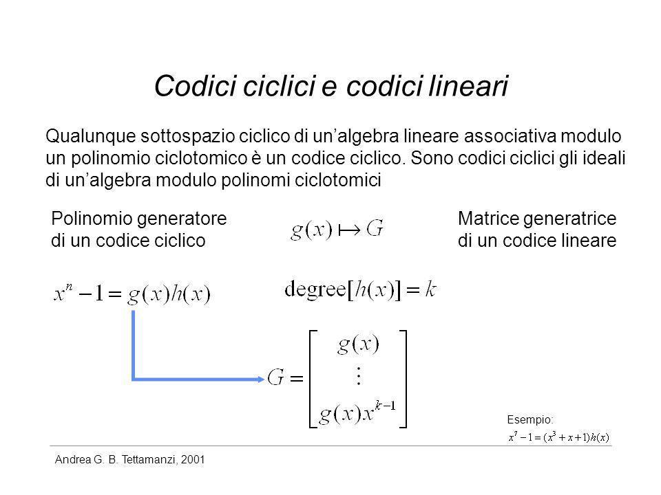 Codici ciclici e codici lineari