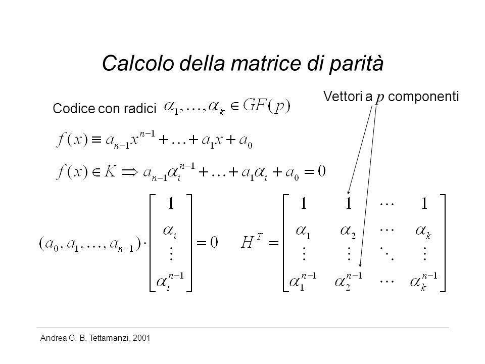 Calcolo della matrice di parità