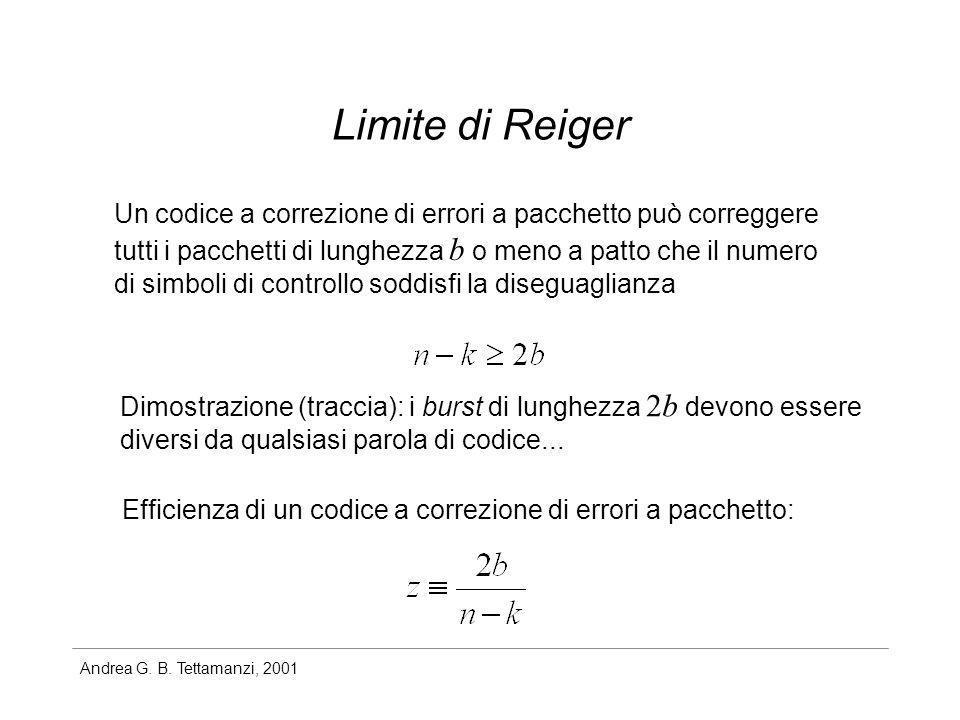 Limite di Reiger Un codice a correzione di errori a pacchetto può correggere. tutti i pacchetti di lunghezza b o meno a patto che il numero.