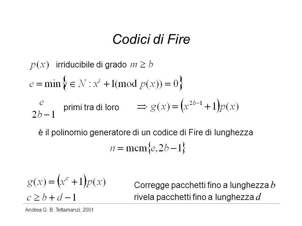 Codici di Fire irriducibile di grado primi tra di loro