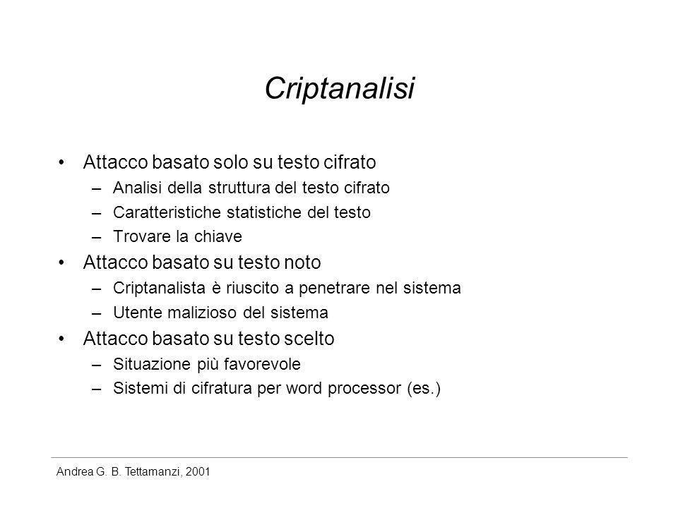 Criptanalisi Attacco basato solo su testo cifrato