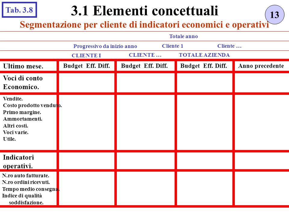 3.1 Elementi concettuali Tab. 3.8. 13. Segmentazione per cliente di indicatori economici e operativi.