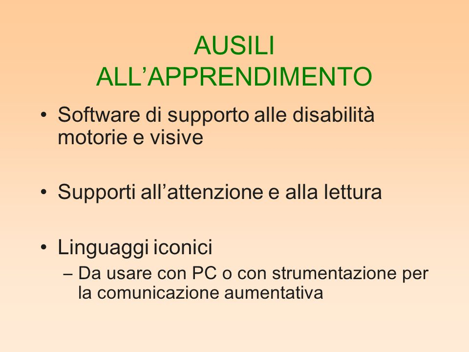 AUSILI ALL'APPRENDIMENTO