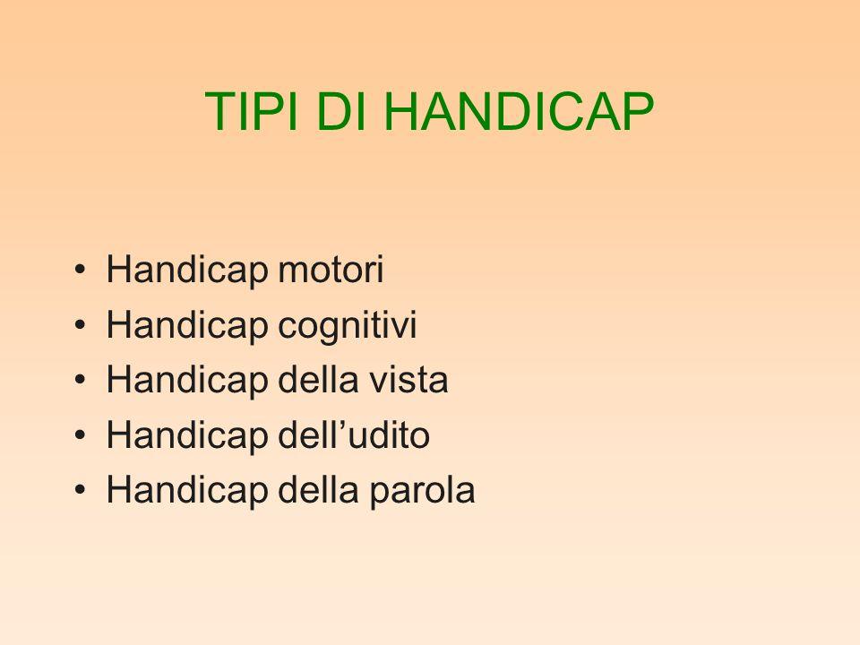 TIPI DI HANDICAP Handicap motori Handicap cognitivi