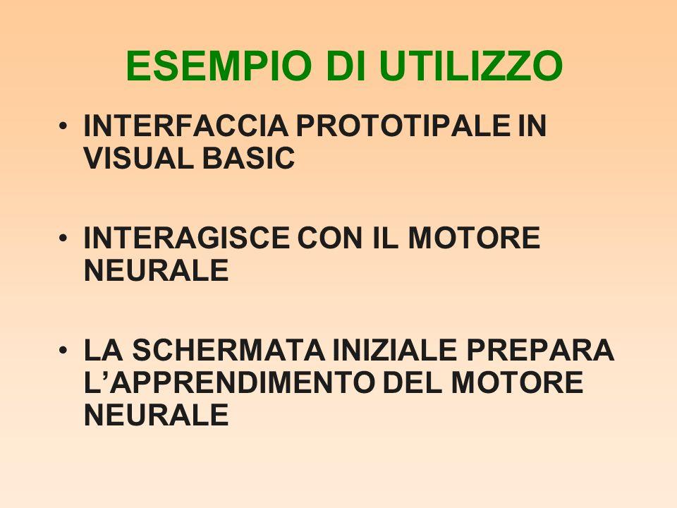 ESEMPIO DI UTILIZZO INTERFACCIA PROTOTIPALE IN VISUAL BASIC