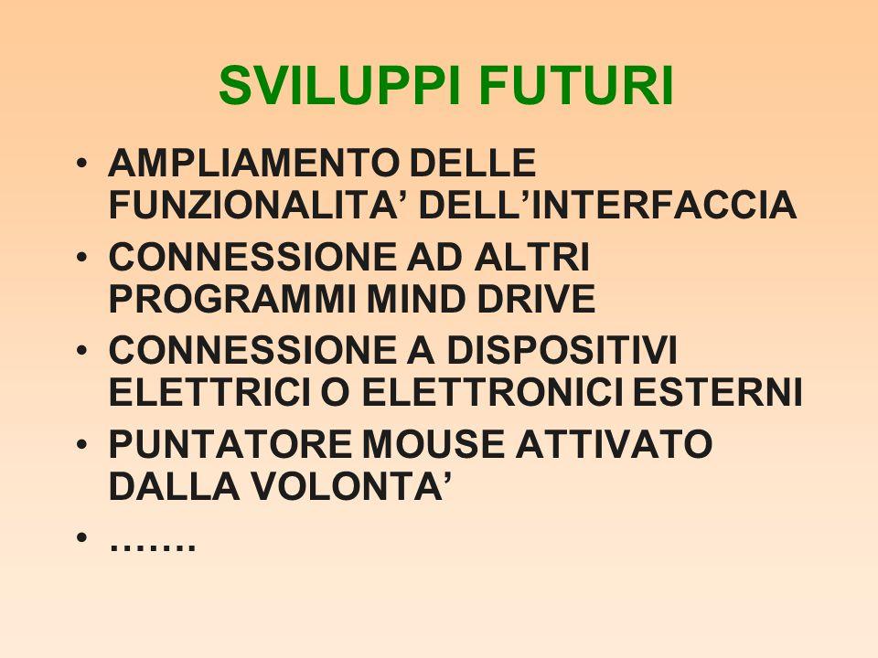 SVILUPPI FUTURI AMPLIAMENTO DELLE FUNZIONALITA' DELL'INTERFACCIA