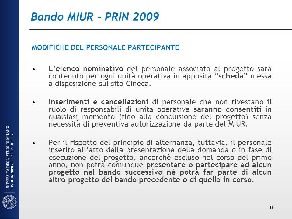 Bando MIUR - PRIN 2009 MODIFICHE DEL PERSONALE PARTECIPANTE.