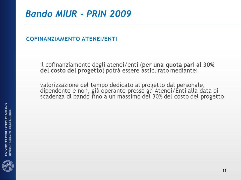 Bando MIUR - PRIN 2009 COFINANZIAMENTO ATENEI/ENTI