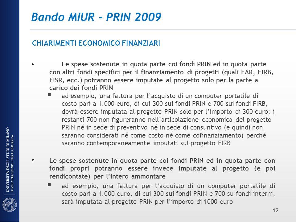 Bando MIUR - PRIN 2009 CHIARIMENTI ECONOMICO FINANZIARI