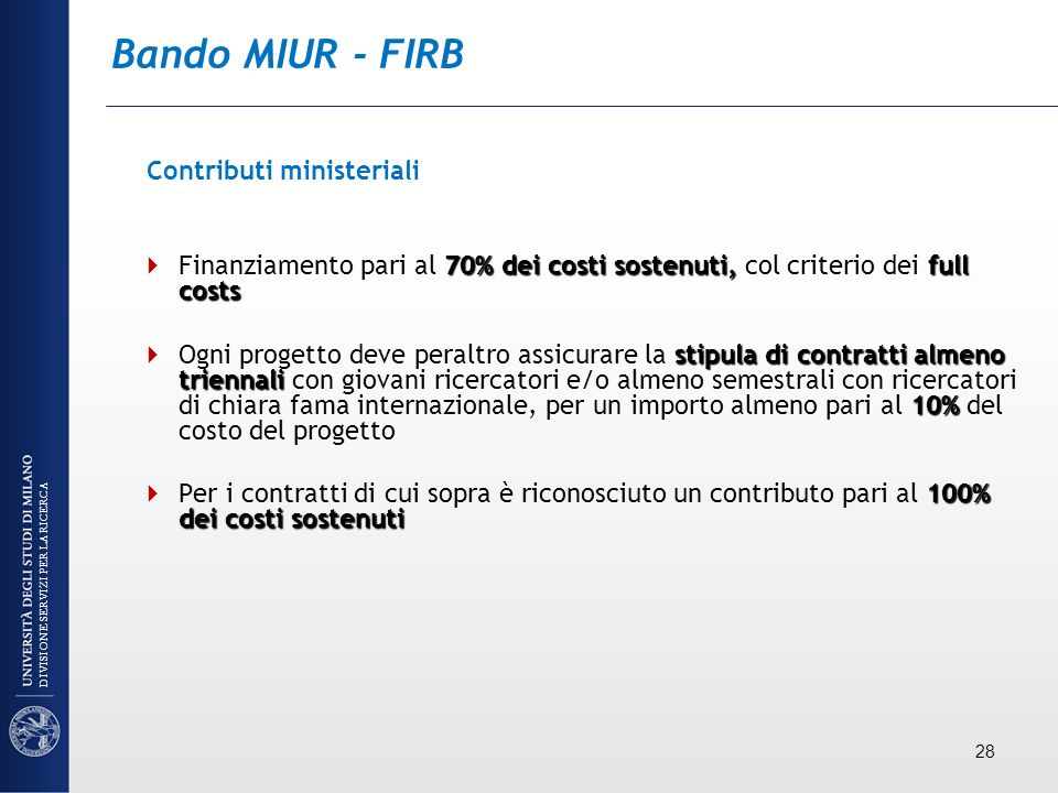 Bando MIUR - FIRB Contributi ministeriali