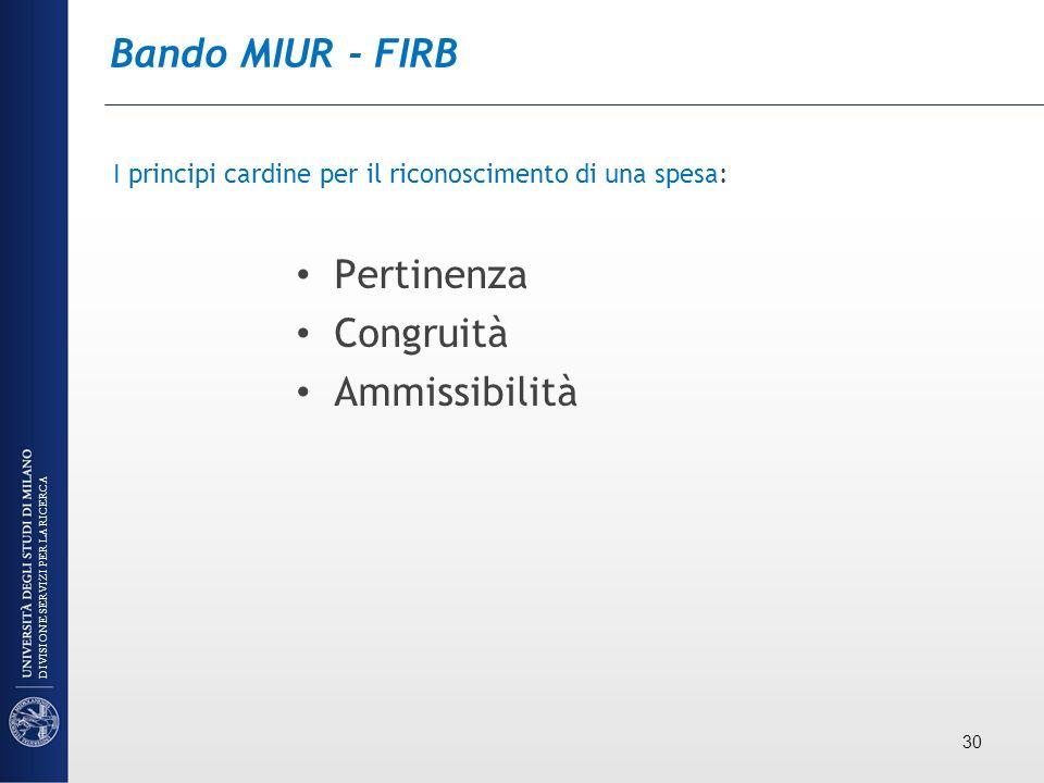 Bando MIUR - FIRB Pertinenza Congruità Ammissibilità