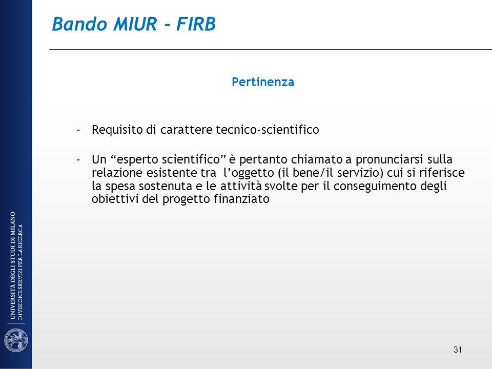 Bando MIUR - FIRB Pertinenza