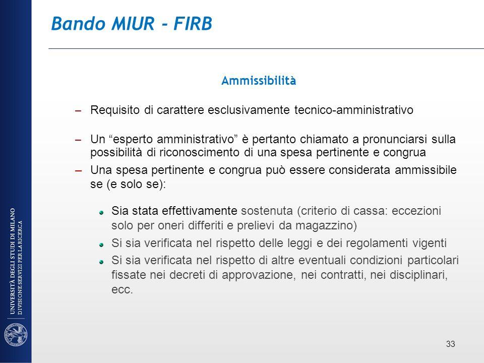Bando MIUR - FIRB Ammissibilità