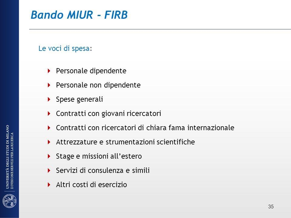 Bando MIUR - FIRB Le voci di spesa: Personale dipendente