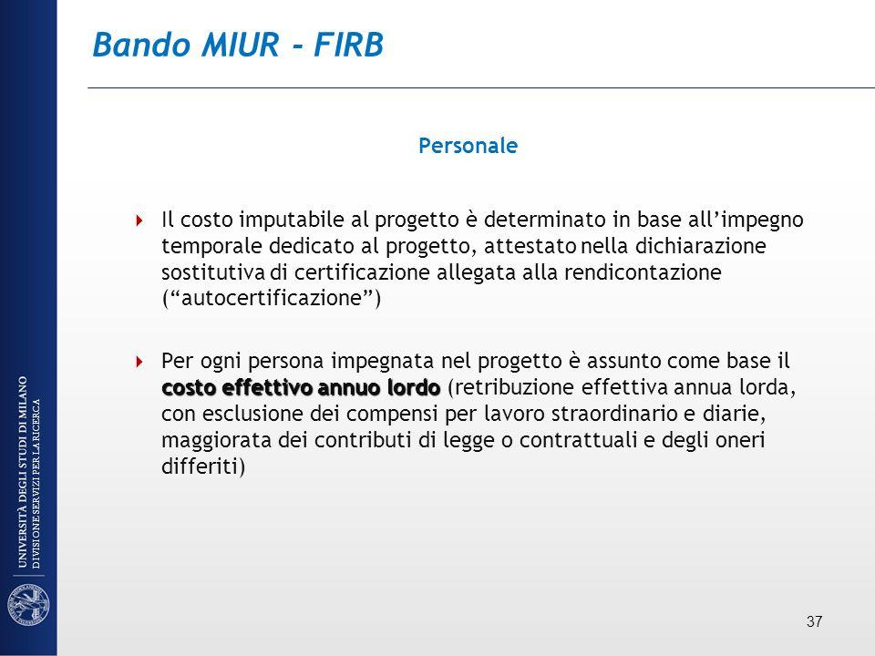 Bando MIUR - FIRB Personale