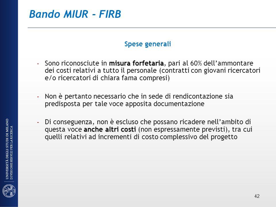 Bando MIUR - FIRB Spese generali