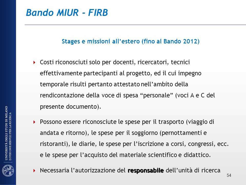 Stages e missioni all'estero (fino al Bando 2012)