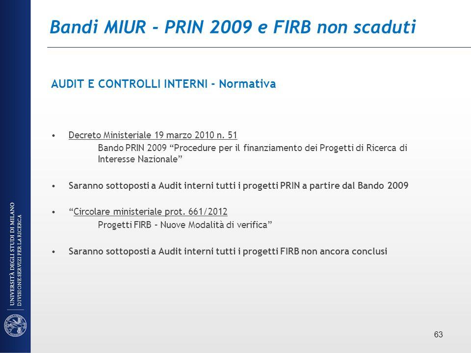 Bandi MIUR - PRIN 2009 e FIRB non scaduti