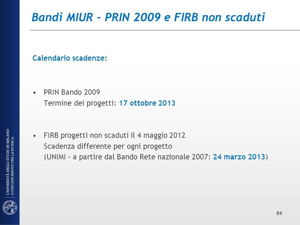 Bandi MIUR – PRIN 2009 e FIRB non scaduti