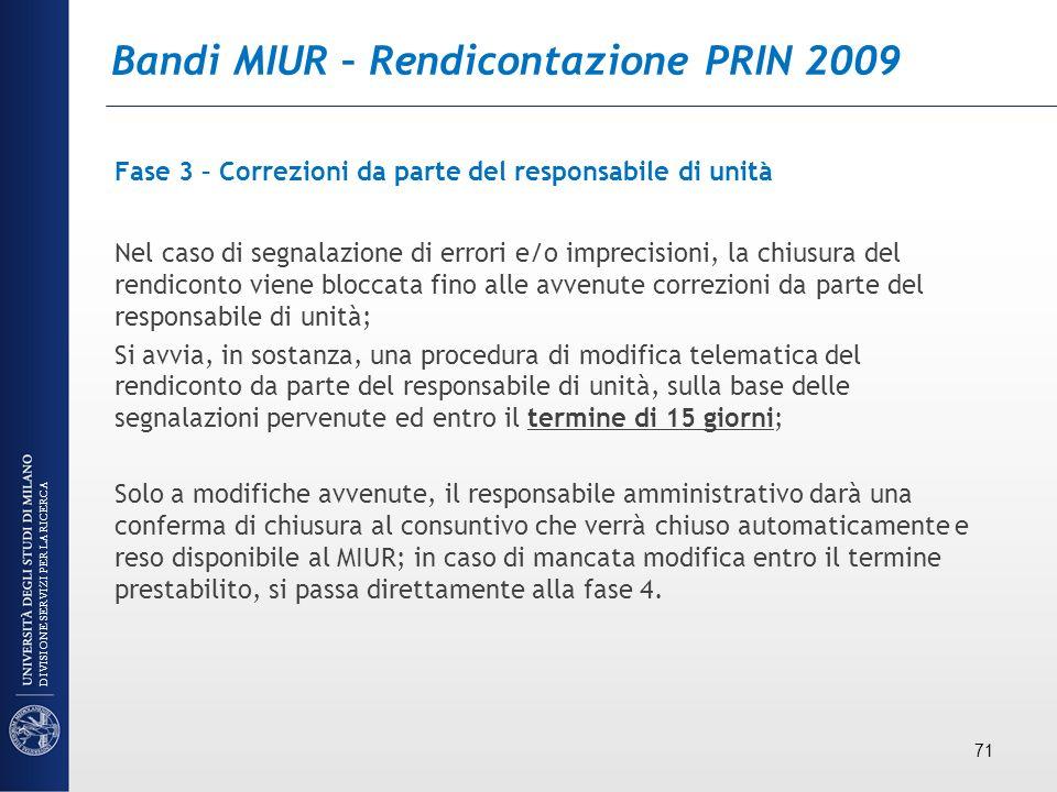 Bandi MIUR – Rendicontazione PRIN 2009
