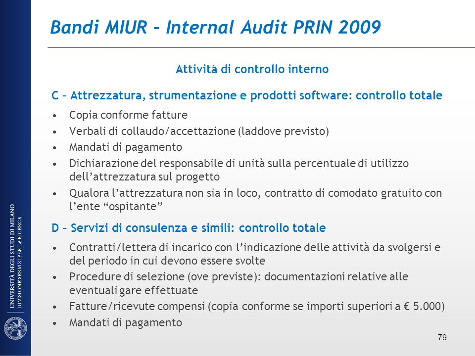 Bandi MIUR – Internal Audit PRIN 2009