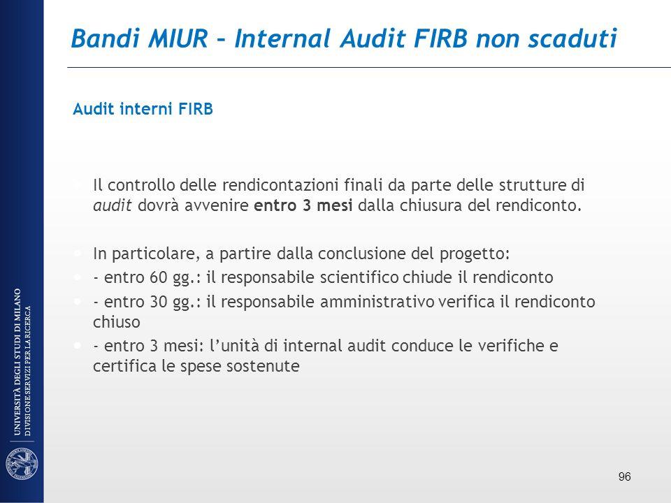 Bandi MIUR – Internal Audit FIRB non scaduti