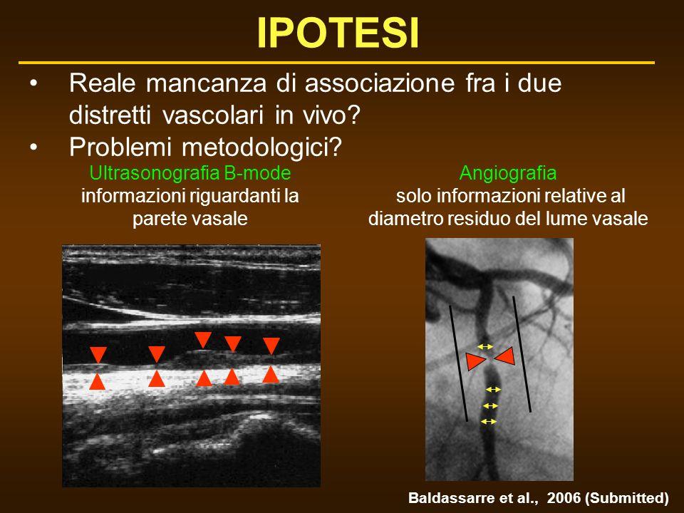 IPOTESI Reale mancanza di associazione fra i due distretti vascolari in vivo Problemi metodologici