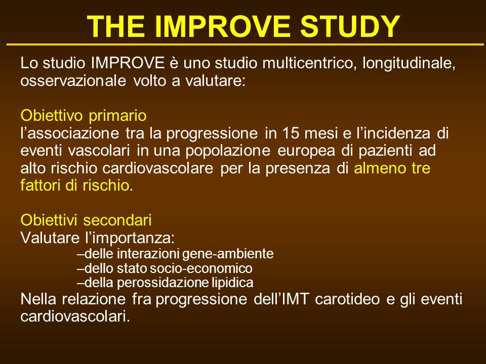 THE IMPROVE STUDY Lo studio IMPROVE è uno studio multicentrico, longitudinale, osservazionale volto a valutare: