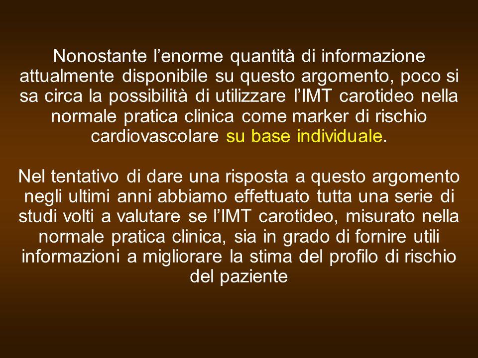 Nonostante l'enorme quantità di informazione attualmente disponibile su questo argomento, poco si sa circa la possibilità di utilizzare l'IMT carotideo nella normale pratica clinica come marker di rischio cardiovascolare su base individuale.