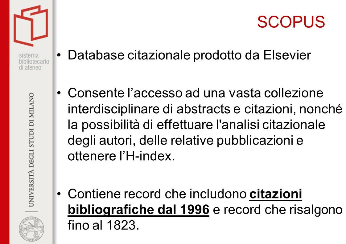 SCOPUS Database citazionale prodotto da Elsevier