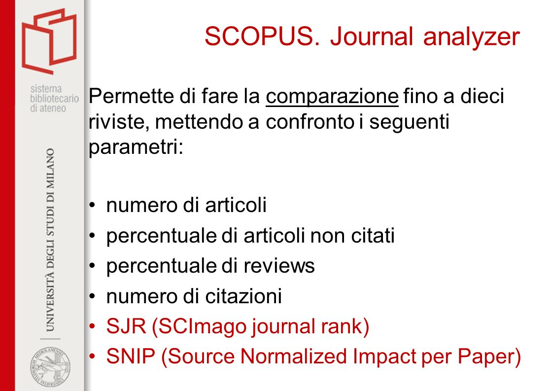 SCOPUS. Journal analyzer