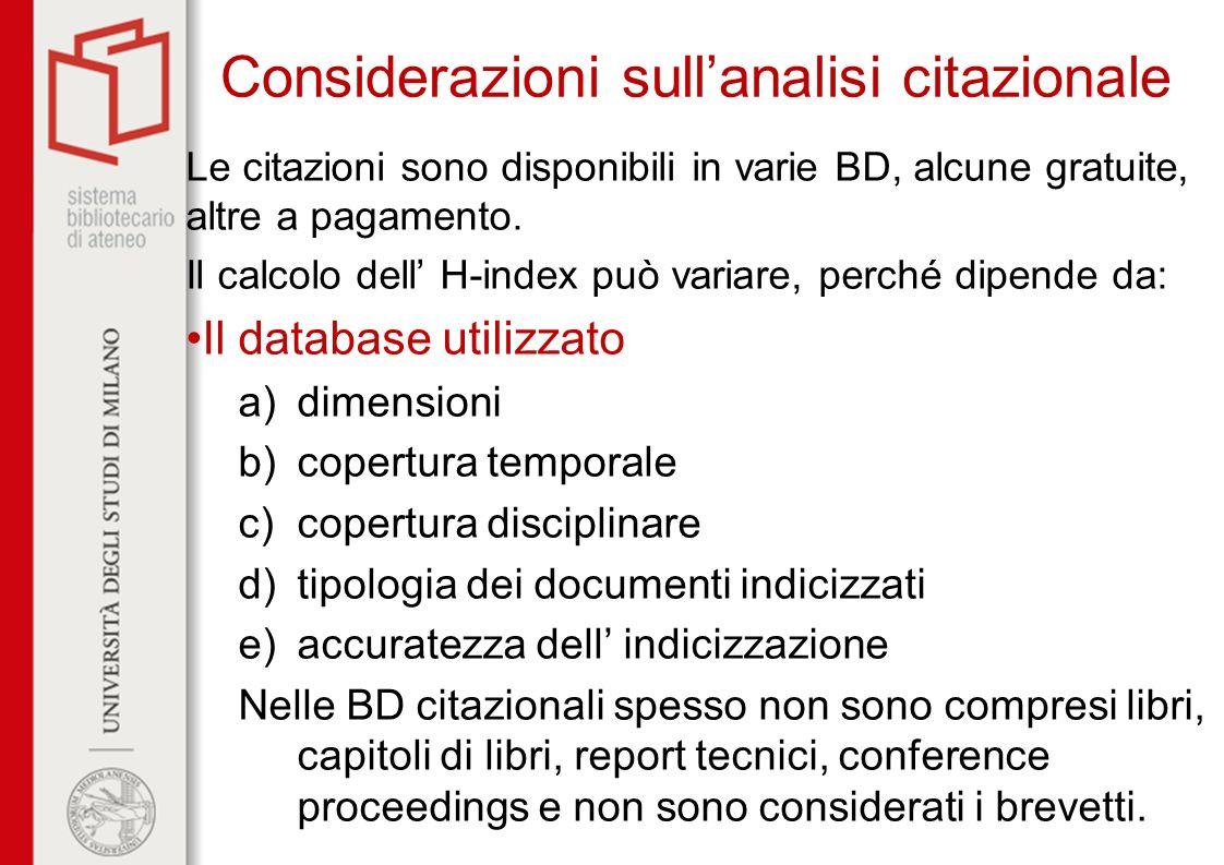 Considerazioni sull'analisi citazionale
