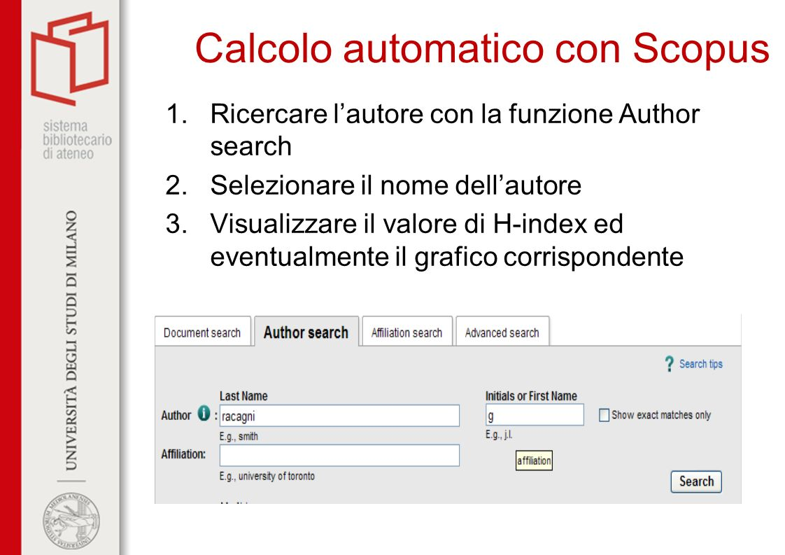 Calcolo automatico con Scopus