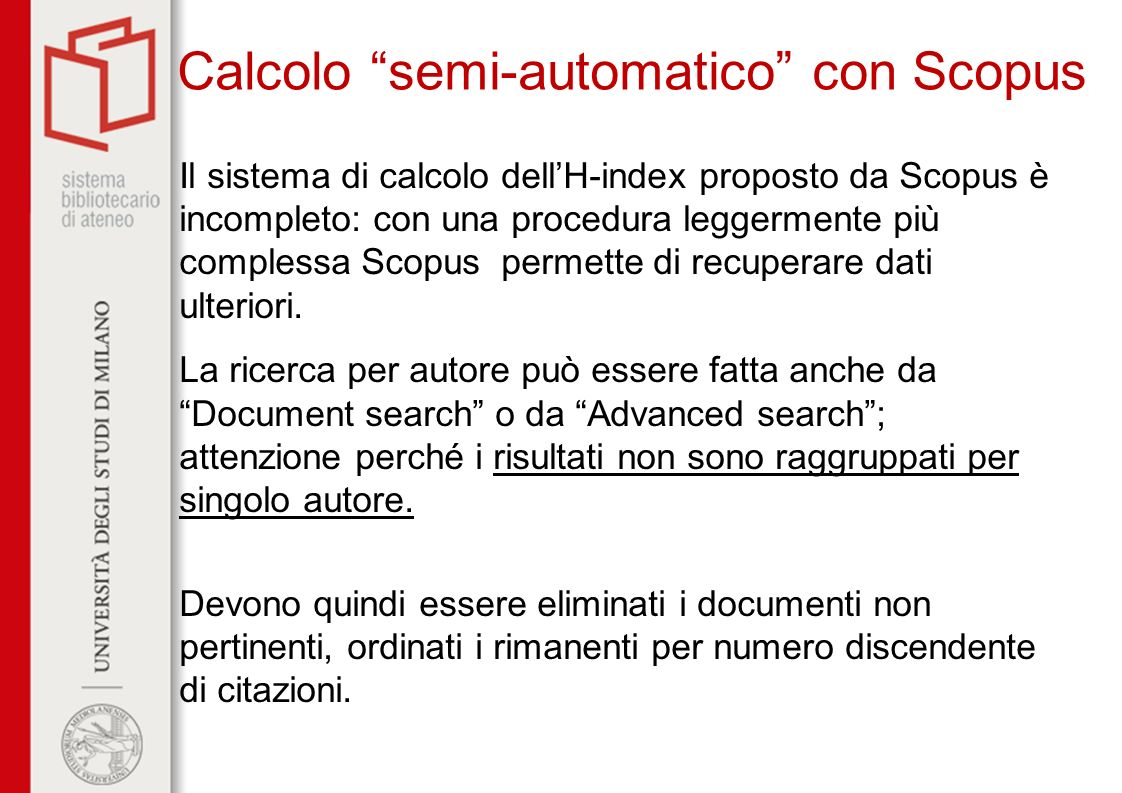 Calcolo semi-automatico con Scopus