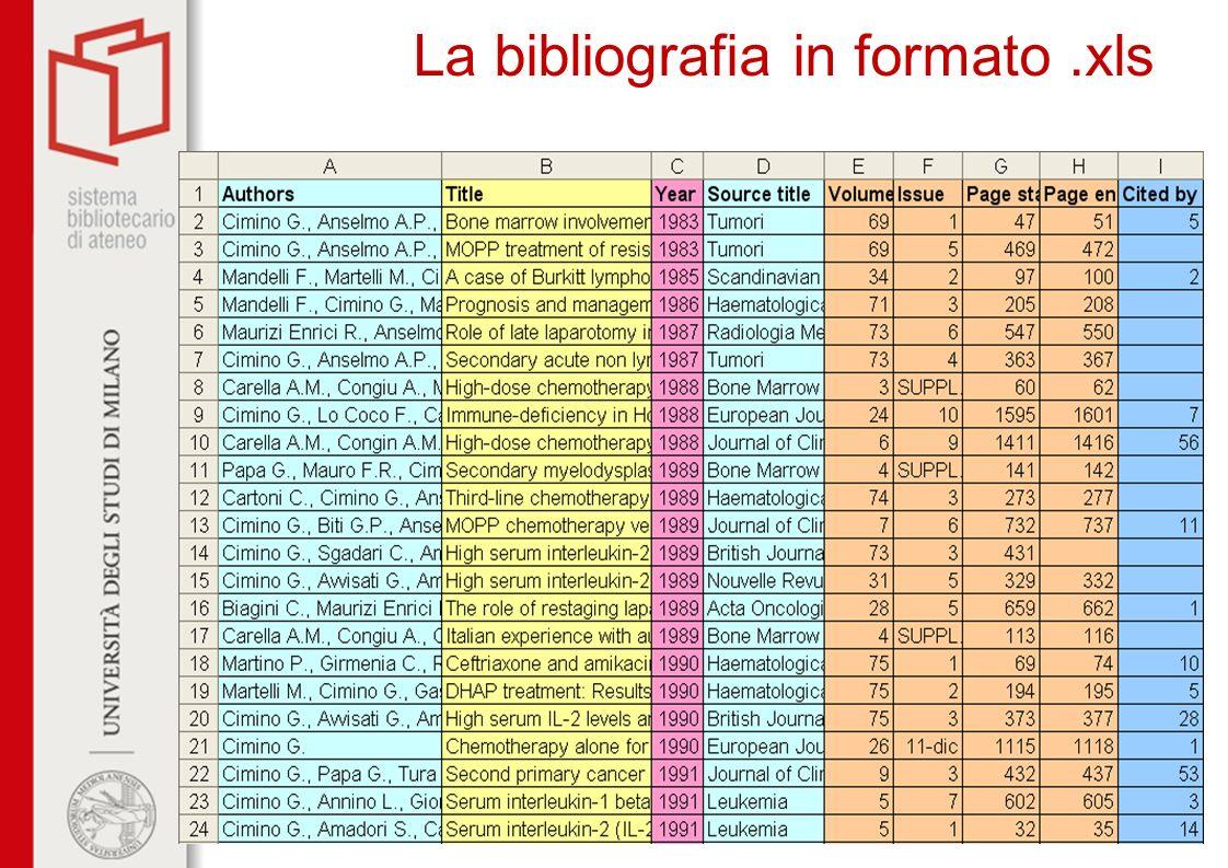 La bibliografia in formato .xls