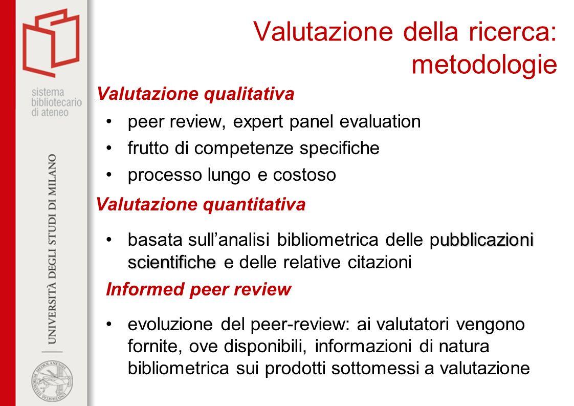Valutazione della ricerca: metodologie