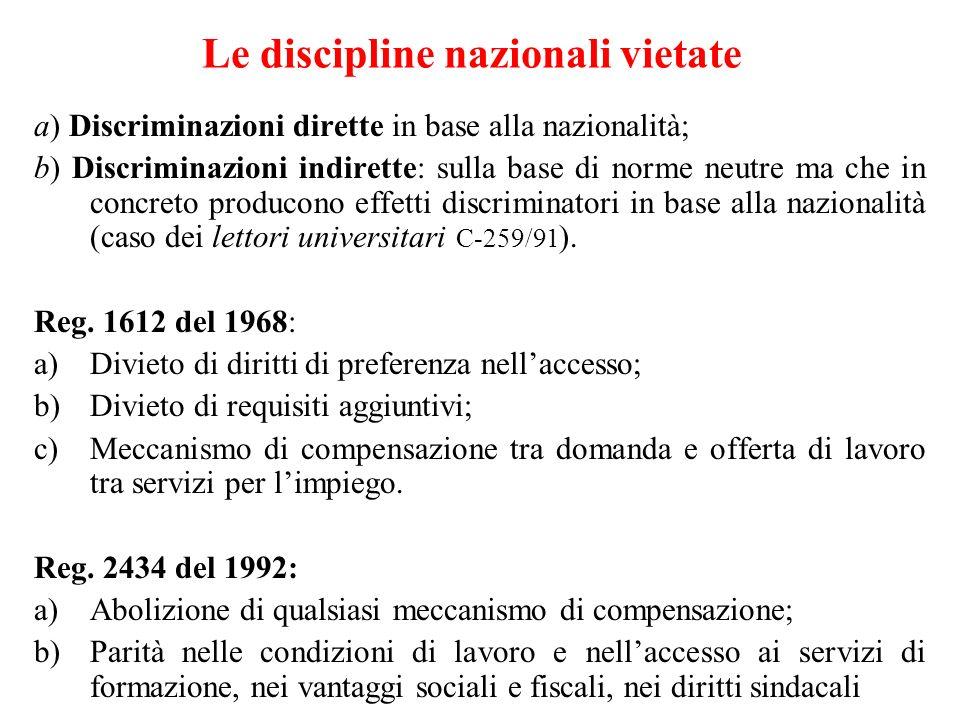 Le discipline nazionali vietate