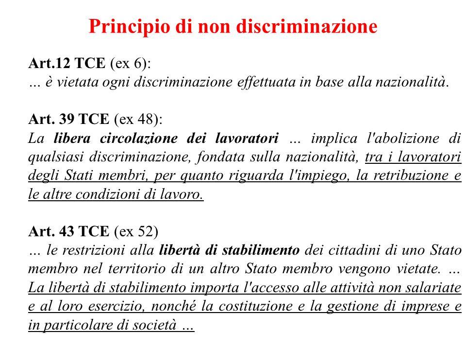 Principio di non discriminazione